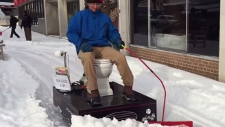 A Maryland Man Is Clearing Snow Outside His Store With His Awesome Toilet