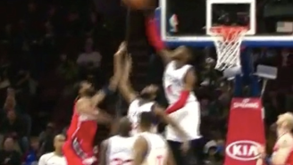 Get That Outta Here! Nerlens Noel Comes From Weak Side To Swat Nene's Hook Shot Out Of Bounds