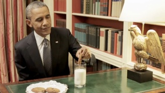 Watch A Frustrated President Obama 'Thank Obama' When His Cookie Is Too Big For His Milk