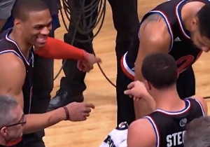 Confident Steph Curry Tries To Convince Russell Westbrook To Throw Him Alley-Oop