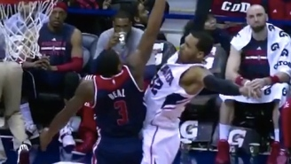 Watch Mike Scott Rise Over Bradley Beal For Epic Poster Jam