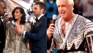 Here's Kim Kardashian Channeling Wrestling Legend Ric Flair At The Grammy Awards