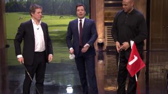 Hugh Grant, Charles Barkley, And Jimmy Fallon Play A Speedy Round Of Hallway Golf