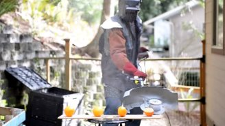 Watch A Mechanical Madman Destroy Grapefruits Using A Weed-Whacker Equipped With Steak Knives