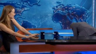 Watch Jon Stewart Lose His Mind When Olivia Wilde Tells Him About 'I Didn't Know I Was Pregnant'