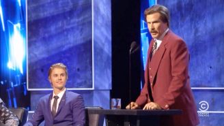 Ron Burgundy Stopped By The Comedy Central Roast To Defend Justin Bieber