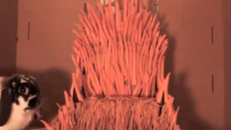 This Bunny Rabbit Named Wallace The Mad King Has His Very Own Iron Throne Made Of Carrots
