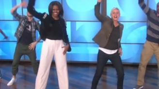 Here's Michelle Obama And Ellen DeGeneres Getting Their Groove On To 'Uptown Funk'