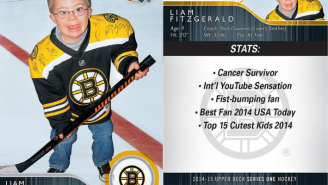 That Adorable Fist-Bumping Hockey Fan Got His Own Hockey Card
