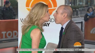 You Will Never Unsee Matt Lauer Kissing Kathie Lee Gifford For The 'Twizzler Challenge'