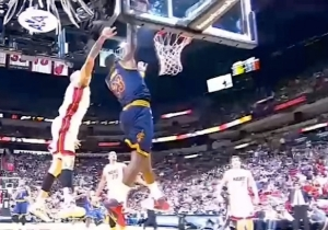 LeBron James Dunks On Chris Andersen Despite Getting Hit In The Head