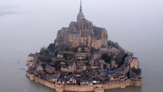 Historic high tide turns French monastery into a Disney Princess castle