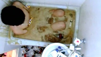 This Is What Happens When You Jump Into A Coke-Filled Tub While Covered In Mentos