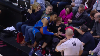 Devin Harris Adorably High-Fives Two Young Fans After Diving For A Loose Ball