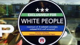 Someone Posted 'Exclusively For White People' Stickers Around Austin During SXSW