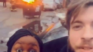 This Couple Finds Out Why You Don't Take Selfies When The Firefighters Have The Hose Out