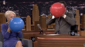 Watch Helen Mirren And Jimmy Fallon Suck Down Helium