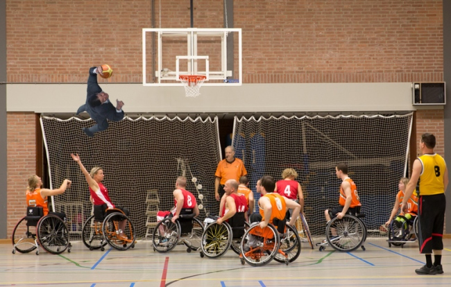 Robopanda wanted to see Tom dunk over some wheelchair basketball players. It didn't really work, but I tried.