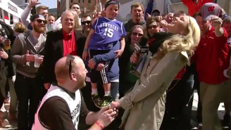 Watch A Michigan State Fan Propose To CBS' Allie LaForce On Live TV