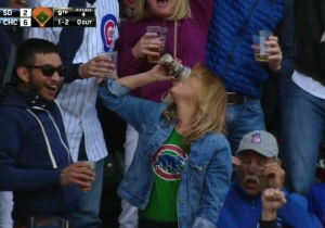 Watch This Woman Catch A Foul Ball In Her Cup Of Beer And Chug It
