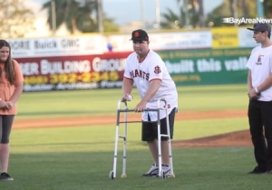 Beating Victim Bryan Stow Throws Out First Pitch At Minor League Game Four Years Later