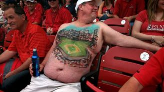 This Beautiful Cardinals Fan Has A Mural Of Busch Stadium Painted On His Belly