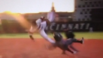 These Two College Baseball Players Went Airborne After A Collision At First Base