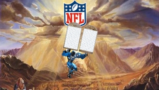 Cleatus the Fox NFL robot descends from Mt. Sinai with tablets containing 2015 NFL schedule