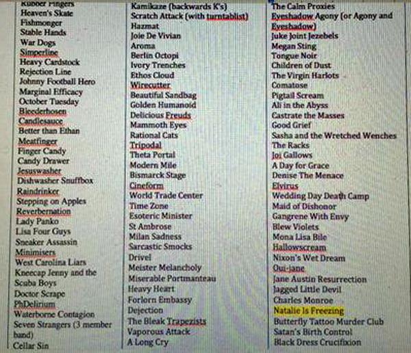 Community's List Of 90s Band Names Before Choosing Natalie