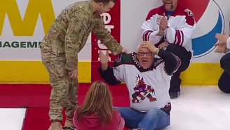 Watch This American Soldier Get Tackled By His Dad At A Hockey Game