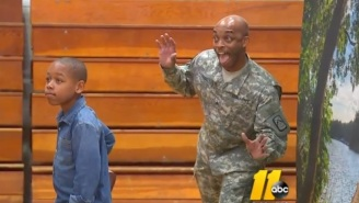 Watch This Returning Soldier Surprise His Son With A Photobomb On School Picture Day
