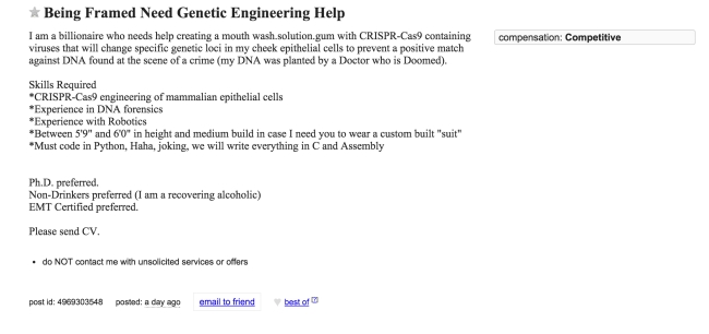 Craigslist Ad For A Genetic Engineer