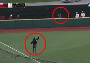 Watch This Outfielder Flip Over The Outfield Wall To Rob A Home Run