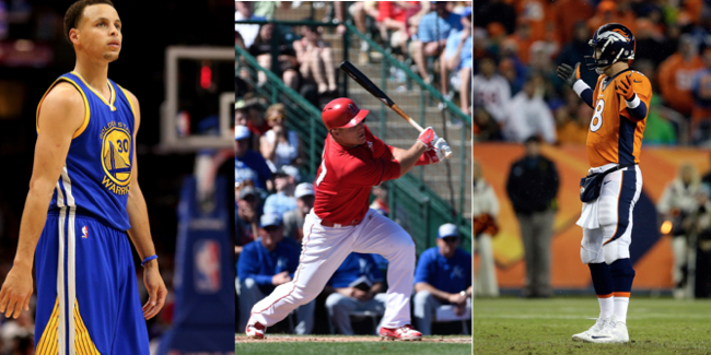 Stephen Curry, Mike Trout, Peyton Manning