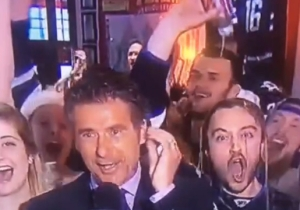 Watch This Winnipeg Jets Fan Pour An Entire Beer On His Head During A Live Broadcast