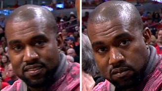 Please Enjoy Kanye West Not Smiling At The Bulls-Cavs Game