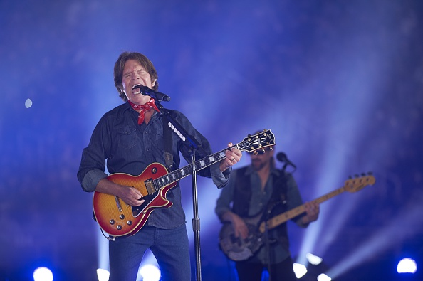 Hockey: NHL Stadium Series: Celebrity musician John Fogerty performing during first intermission of San Jose vs Los Angeles Kings game at Levi's Stadium. Santa Clara, CA 2/21/2015 CREDIT: Robert Beck (Photo by Robert Beck /Sports Illustrated/Getty Images) (Set Number: X159286 TK1 )