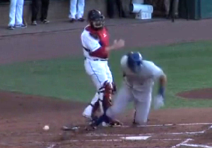 Watch This Minor League Catcher Throw The Ball Right Into The Batter's Stomach