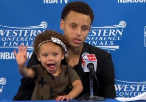 Steph Curry 'Regrets' Bringing Riley To The Podium During The 2015 Playoffs