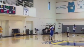 Watch Steph Curry Nail A No-Look Half-Court Shot Like A Boss