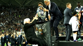 The FFA Chairman Took An Unfortunate And Scary Tumble Off The Stage During A Trophy Presentation