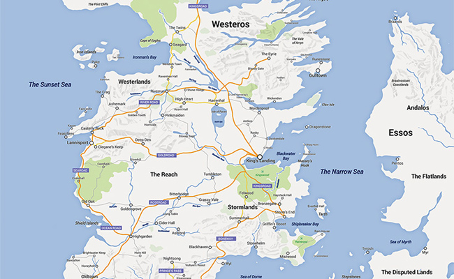 Check Out This Google Maps Version Of Westeros From Game Of Thrones