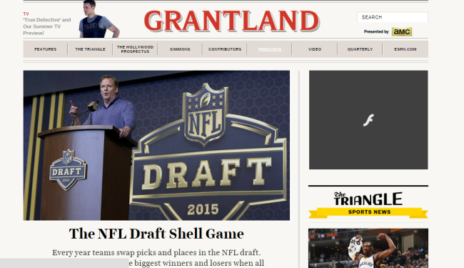 Grantland's home page as of 11:25 AM, 5/8/2015