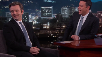 Michael Sheen And Jimmy Kimmel Talked About Sarah Silverman's Dad To Break The Tension
