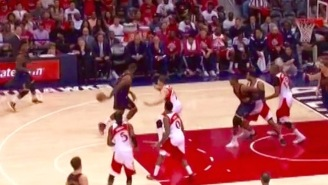 LeBron James Dishes A Sweet Around-The-Back Pass To Iman Shumpert For The Three