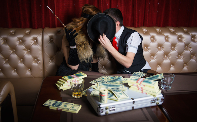 man with woman and money