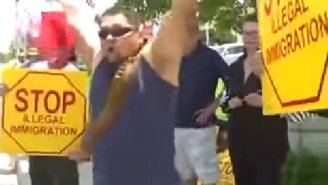 A Mexican Man Starts A One Person Dance Party During An Anti-Immigration Rally