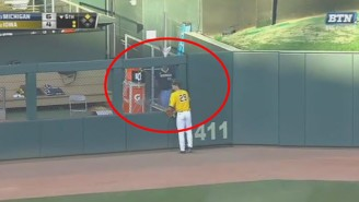 Who Won This Great Battle Between A Michigan Baseball Player And A Bullpen Door?