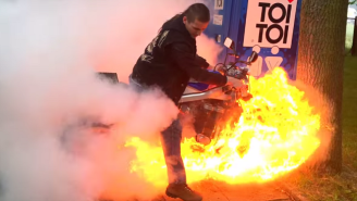 Watch This Motorcycle Burnout Erupt In A Glorious And Fiery Fail