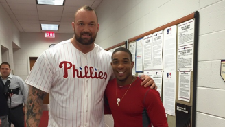 The Mountain From 'Game Of Thrones' Pumped Up The Phillies During Batting Practice